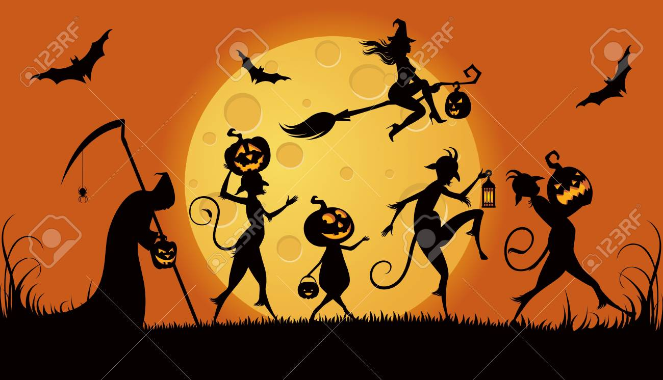 Vector illustration of procession monsters on Halloween night Stock Vector - 23211133