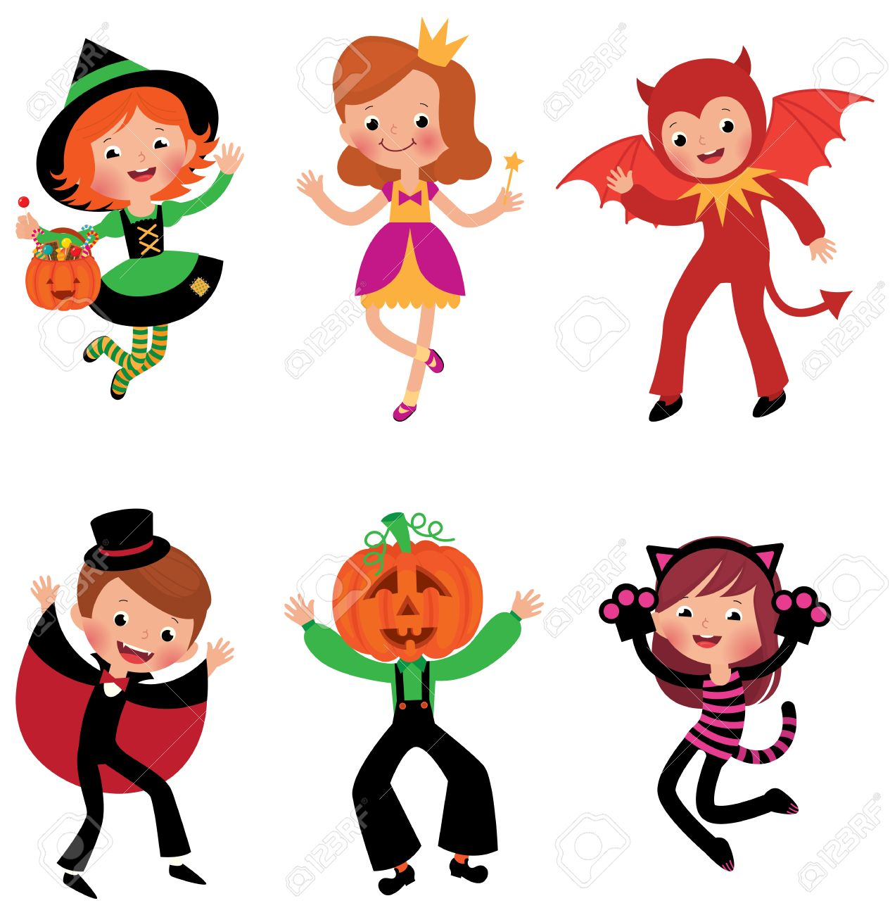 Some Of The Children Characters In Traditional Halloween Costumes ...
