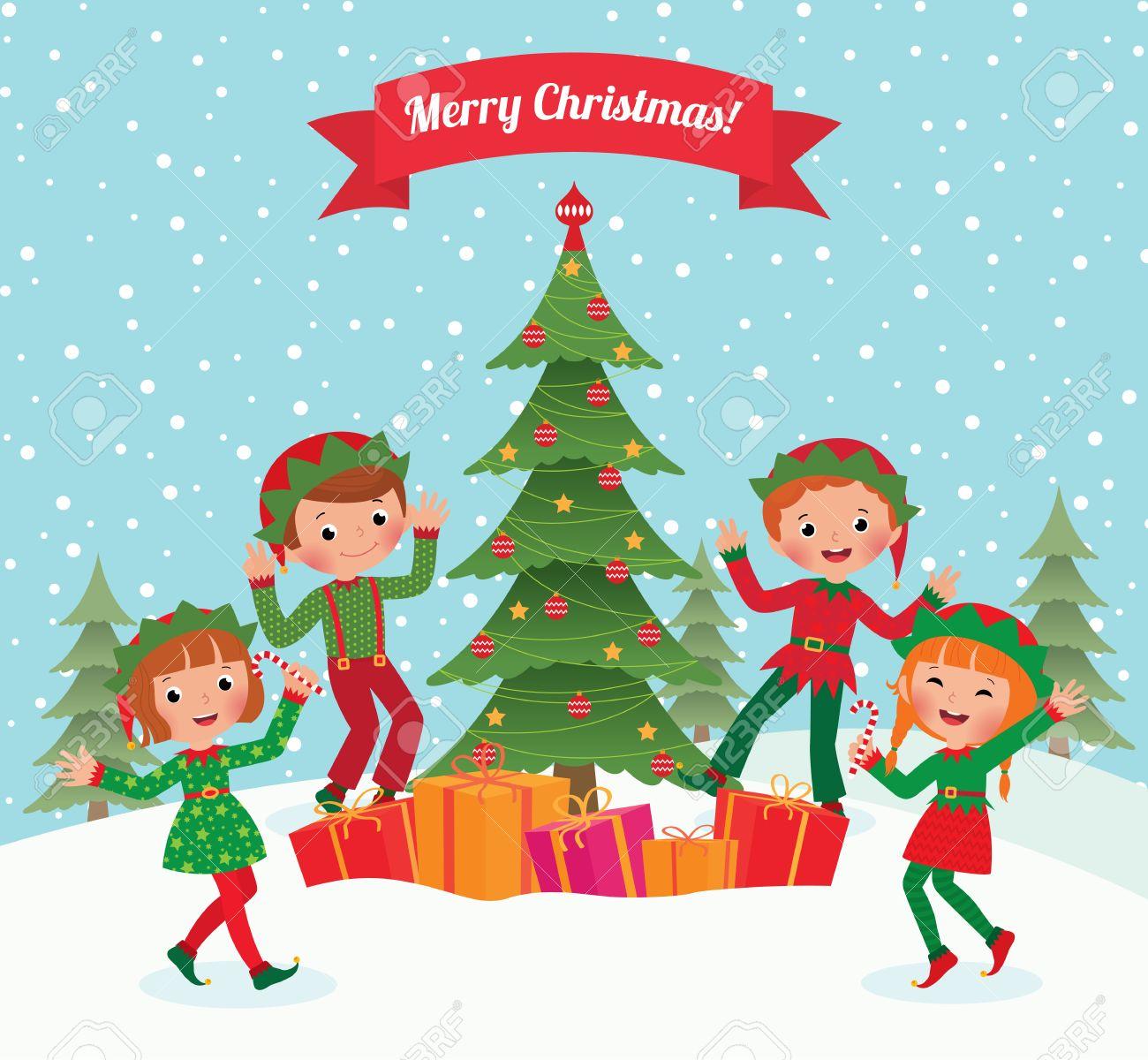 Christmas Party Images Cartoon.Cartoon Elves Having Fun At Christmas Party