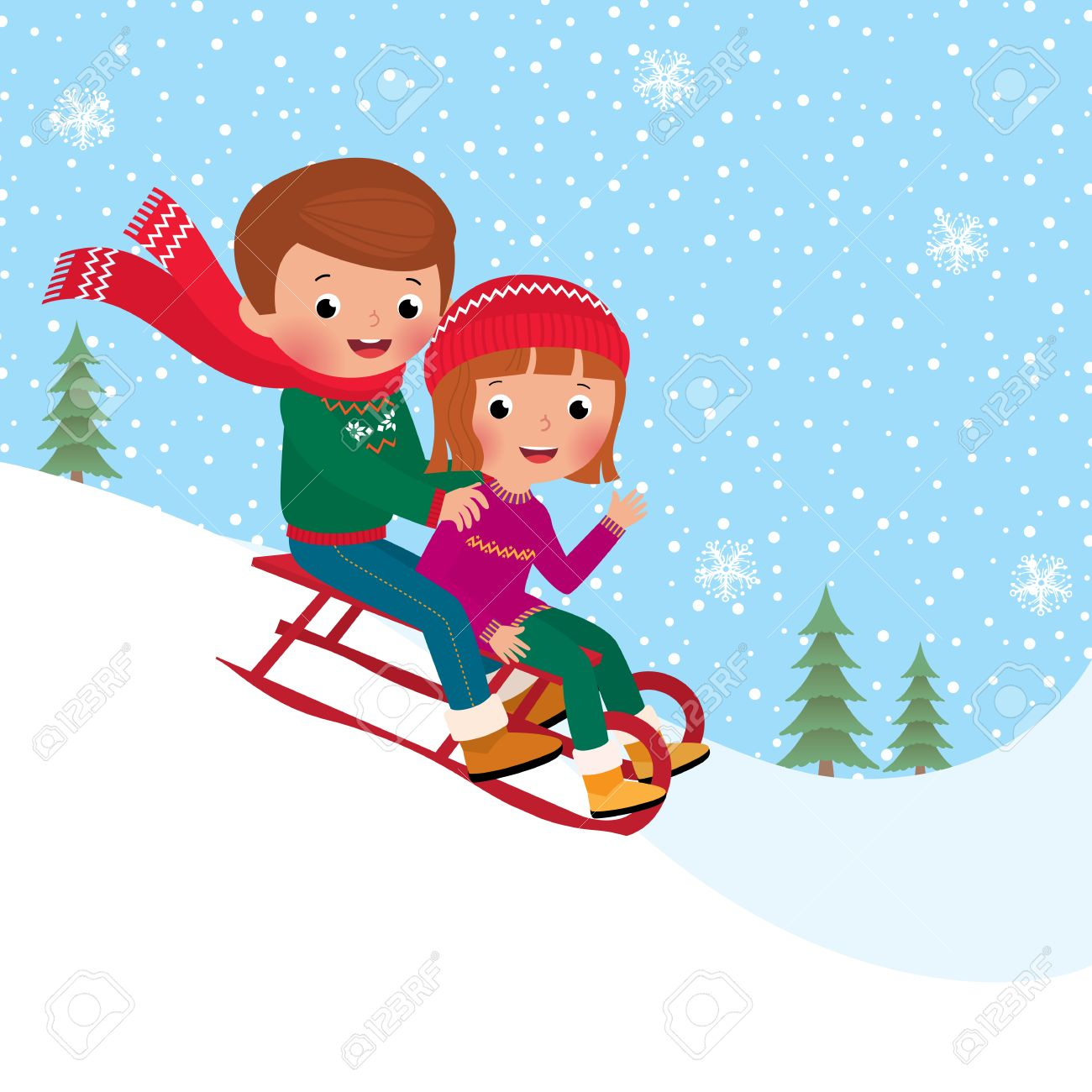 Illustration of boy and girl children sledding together - 33135825