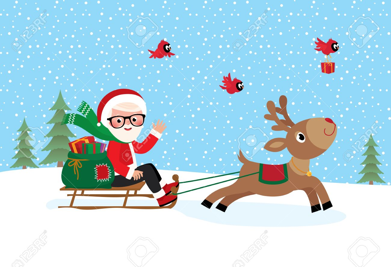 Stock Vector Illustration Christmas Santa Claus With A Bag Of ...