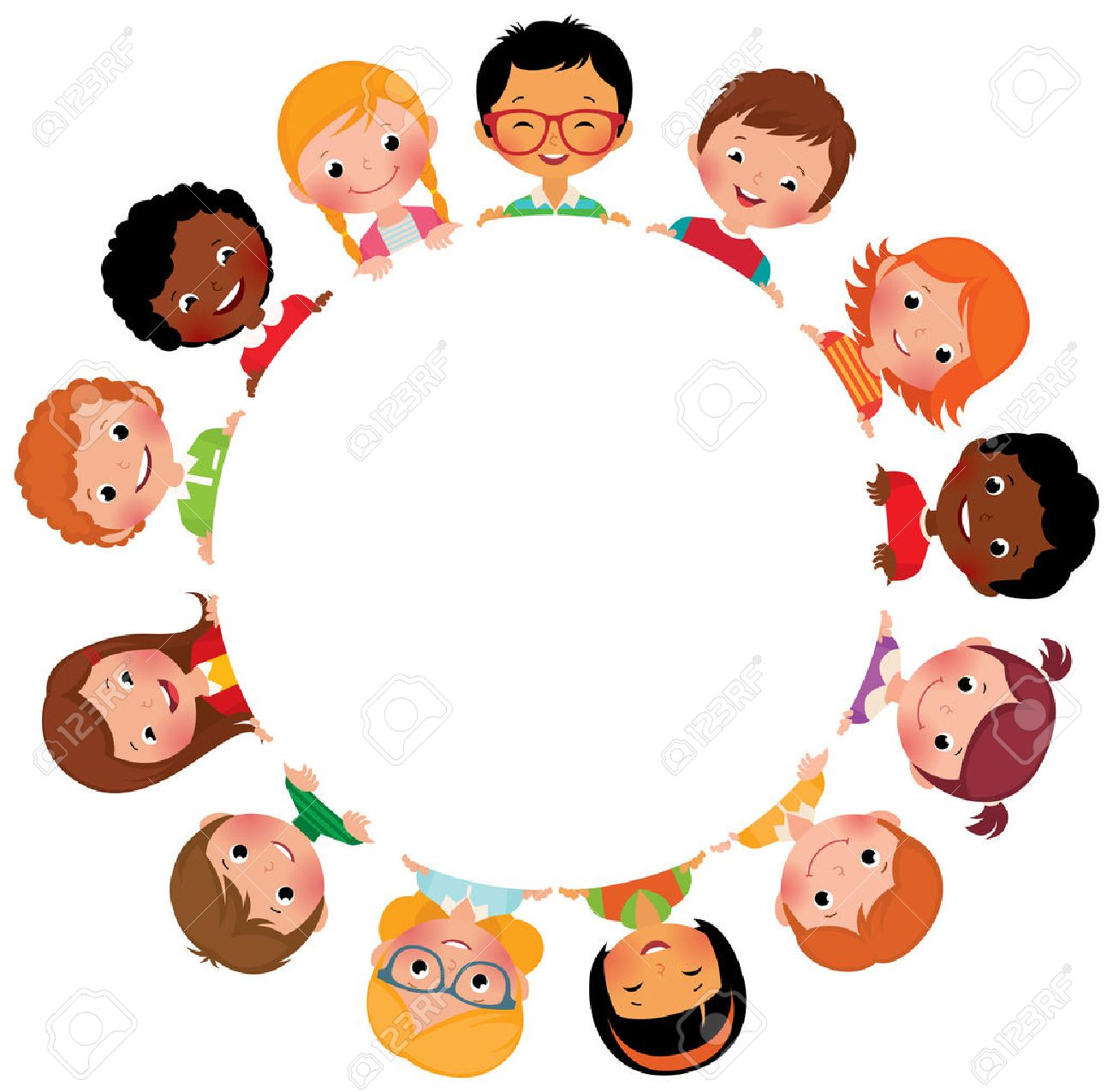Stock vector illustration of kids friends from around the world around the white circle - 35804122