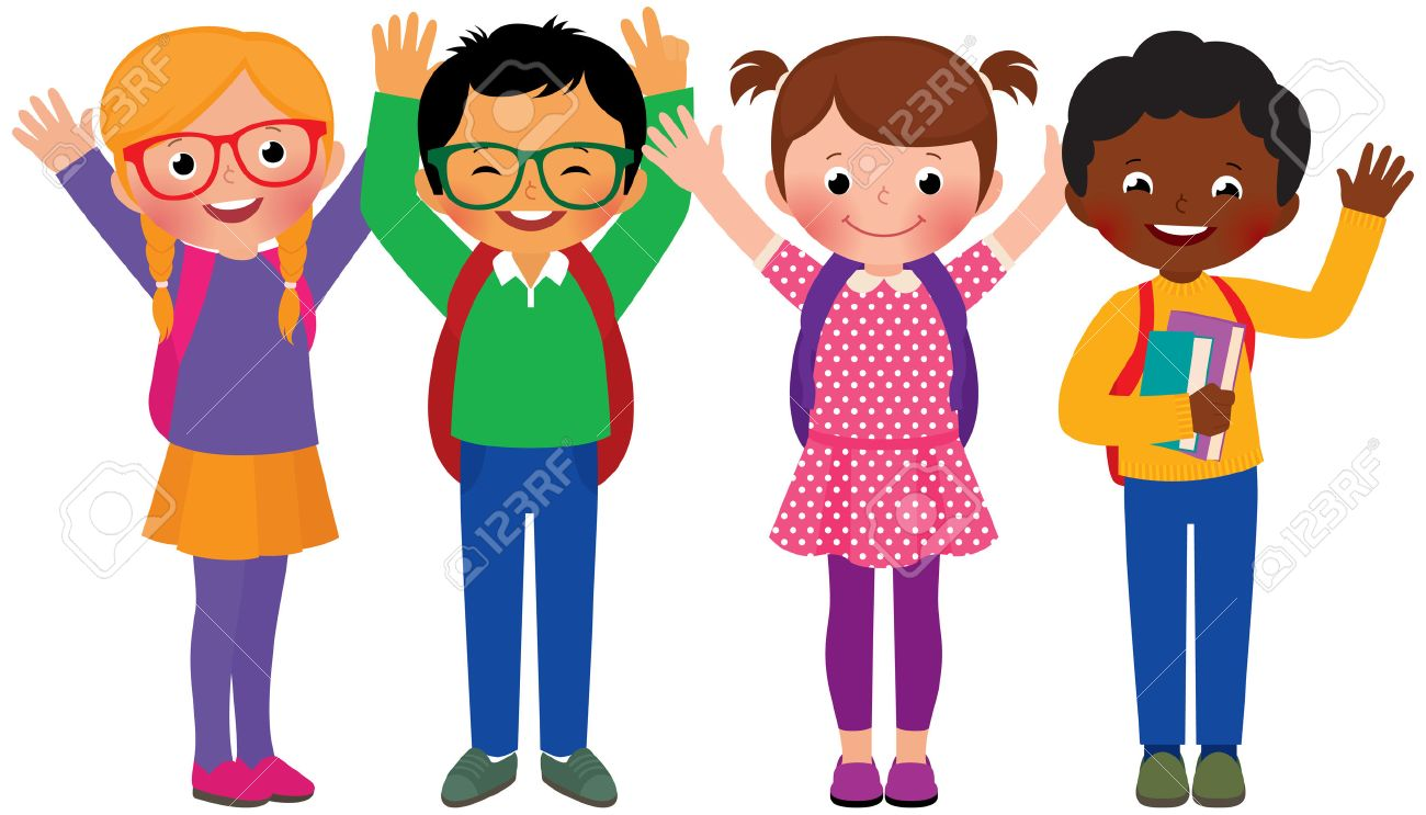 stock vector cartoon illustration of a group of children students stock vector 35804196