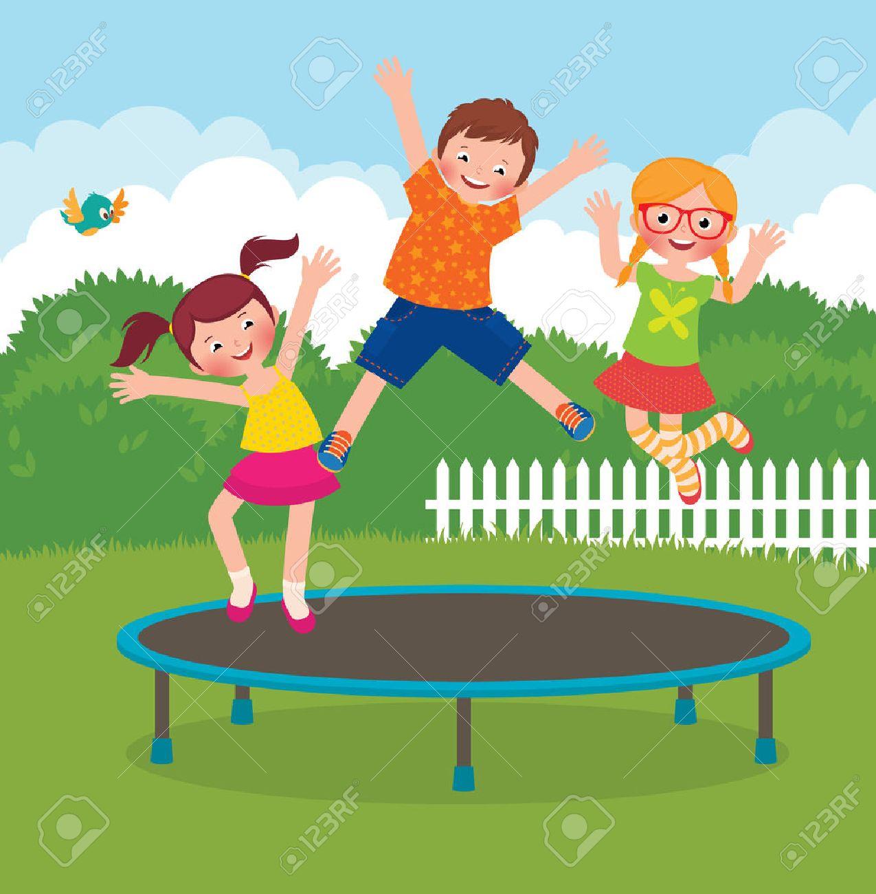 Stock Vector cartoon illustration of funny children jumping on a trampoline - 35804199