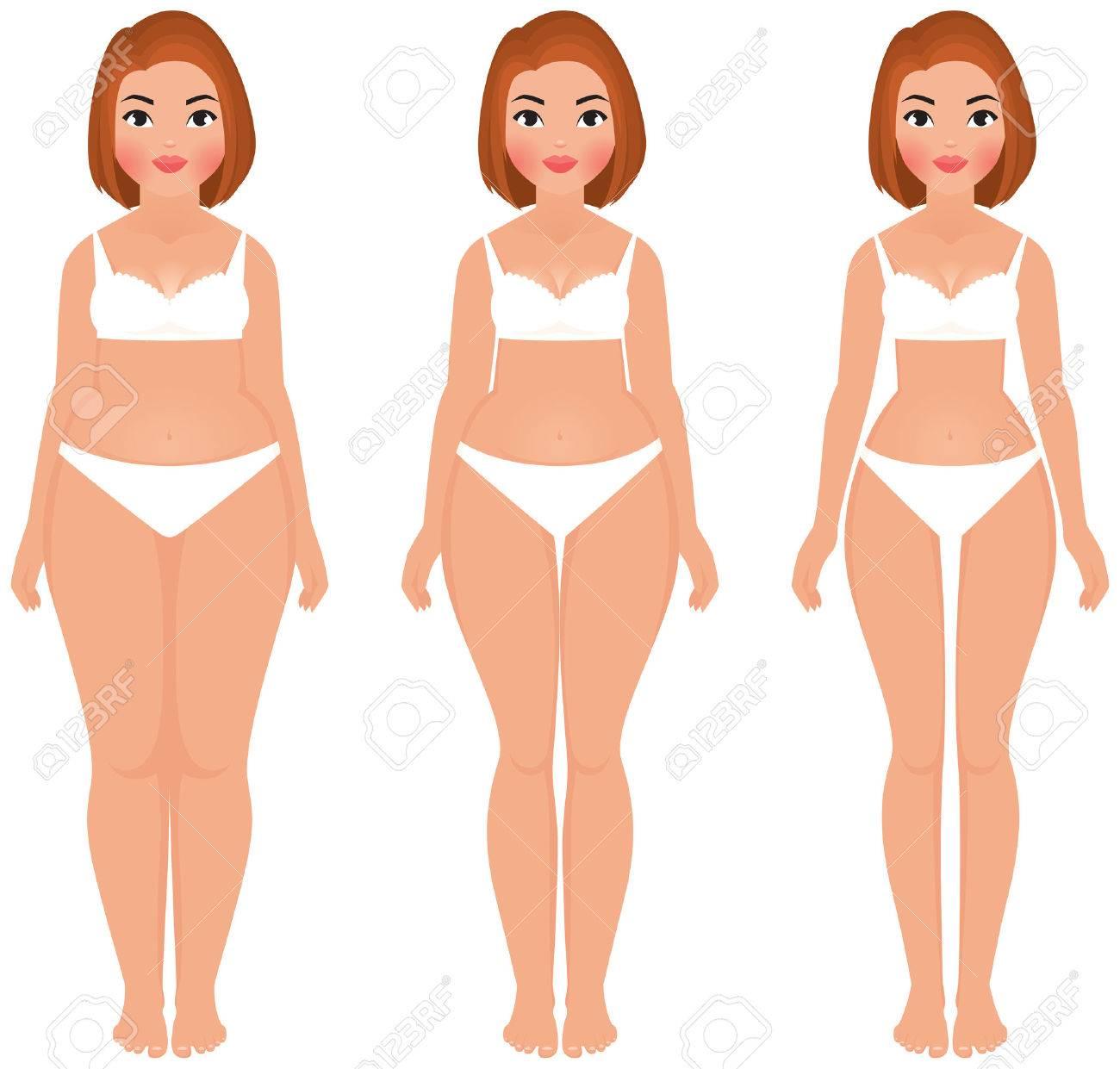 Stock vector cartoon illustration fat to slim women weight loss transformation front - 35804753