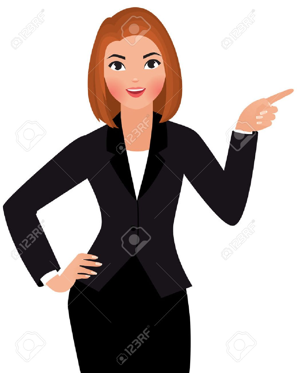 Stock Vector cartoon illustration of a young business woman isolated on a white background points hand at something - 35804664