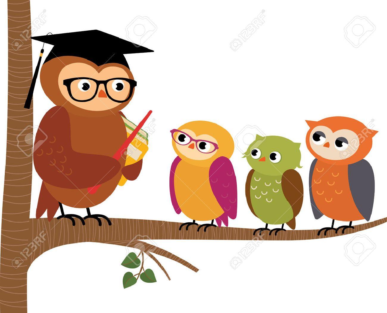 Stock Vector Ilustración De Dibujos Animados Búho Profesor Y Sus