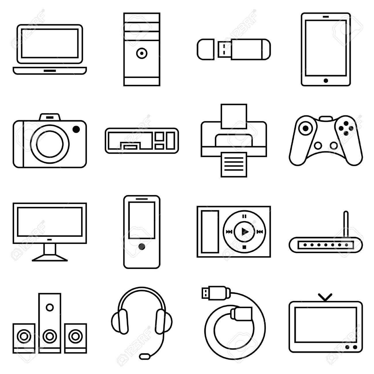 Vektor-Illustration Aus Einer Reihe Von Linearen Symbole Computer ...