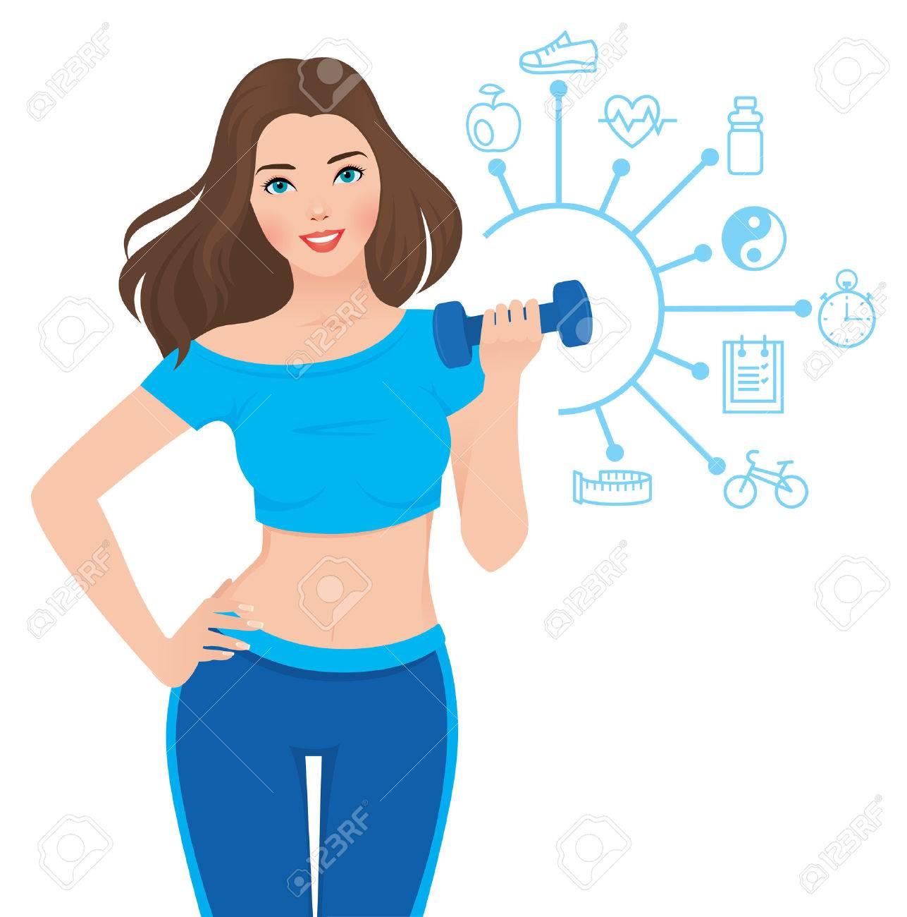 e7f3f6834e01 Ilustración vectorial de la niña sana delgada en ropa deportiva a aptitud y  la infografía que muestra los componentes de su éxito