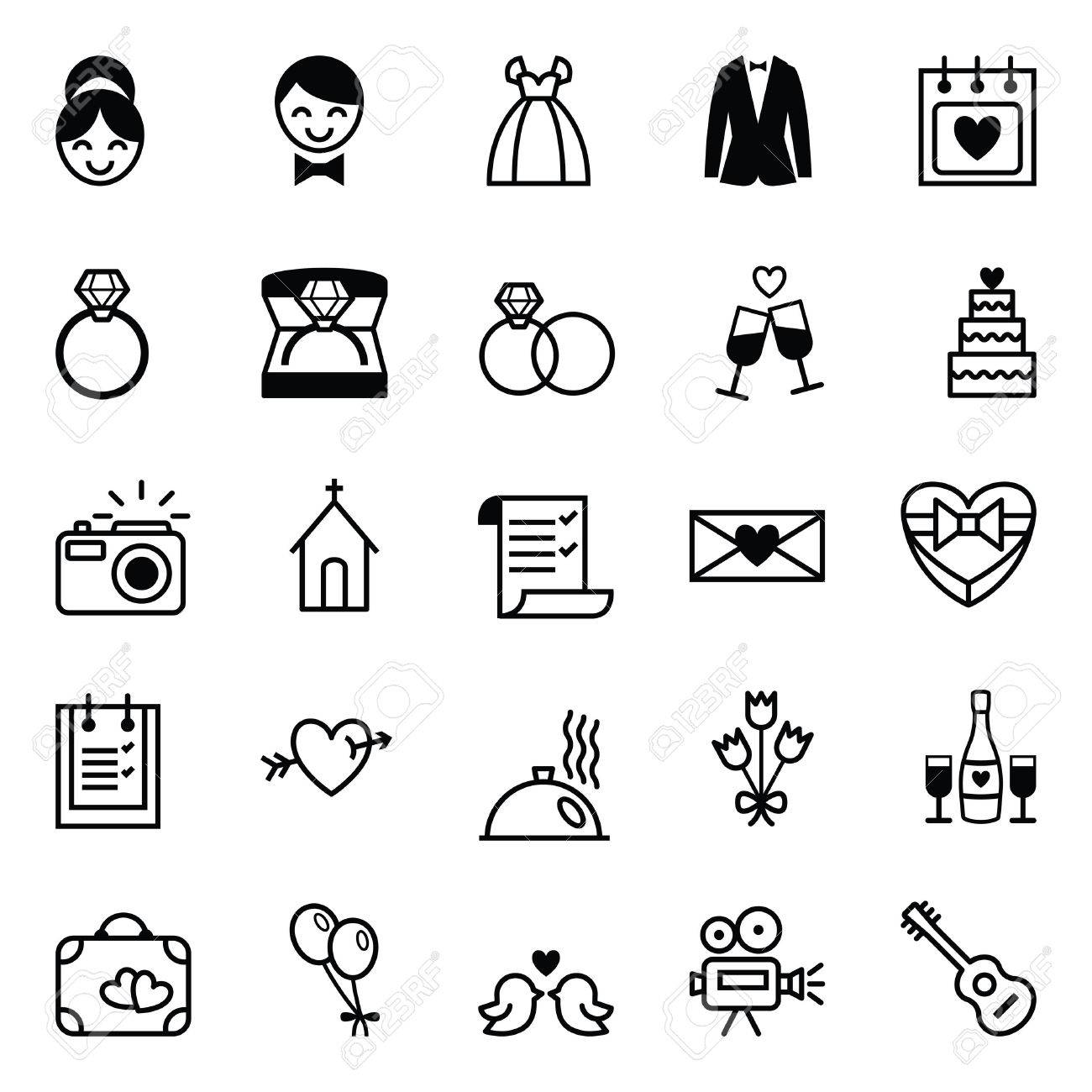 Set of twenty five black and white vector icons preparation for the wedding - 39378901