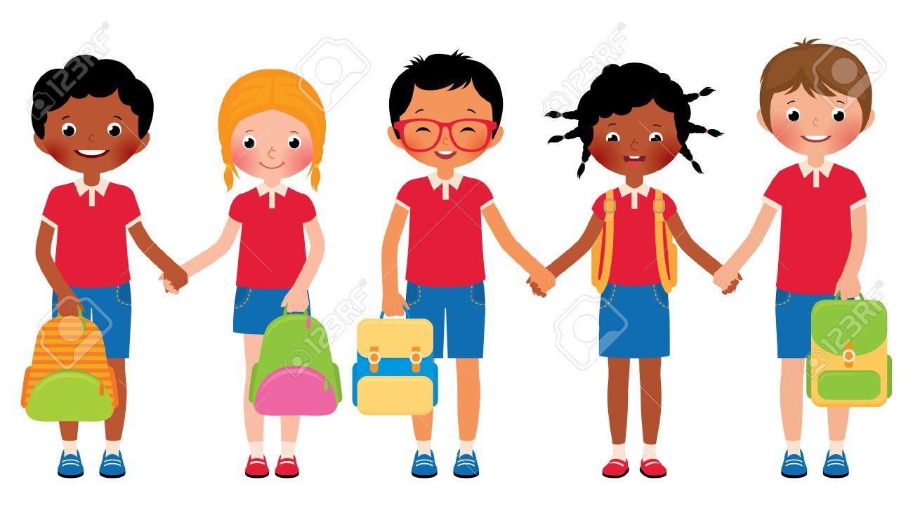 Stock Vector Ilustración De Dibujos Animados De Un Grupo De Niños