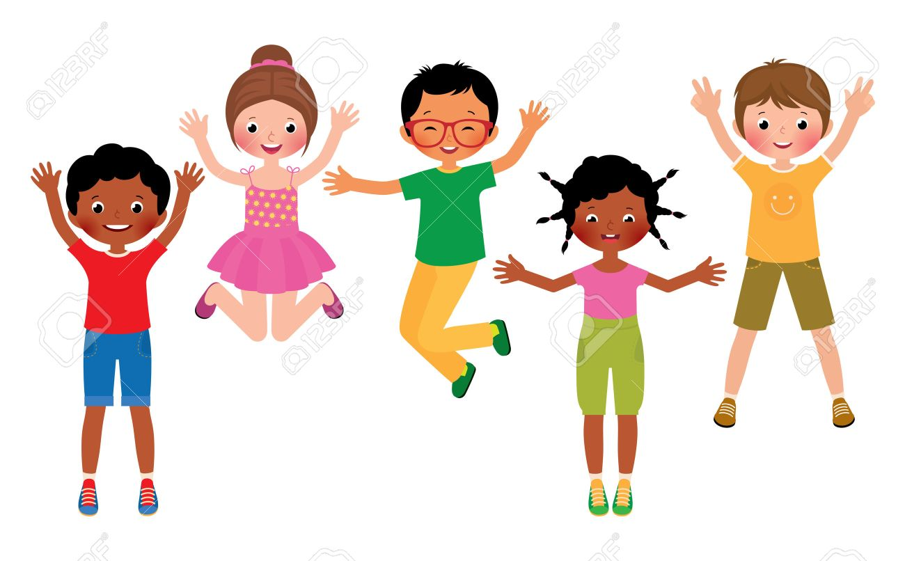 stock vector cartoon illustration of a group of happy children jumping isolated on white background stock