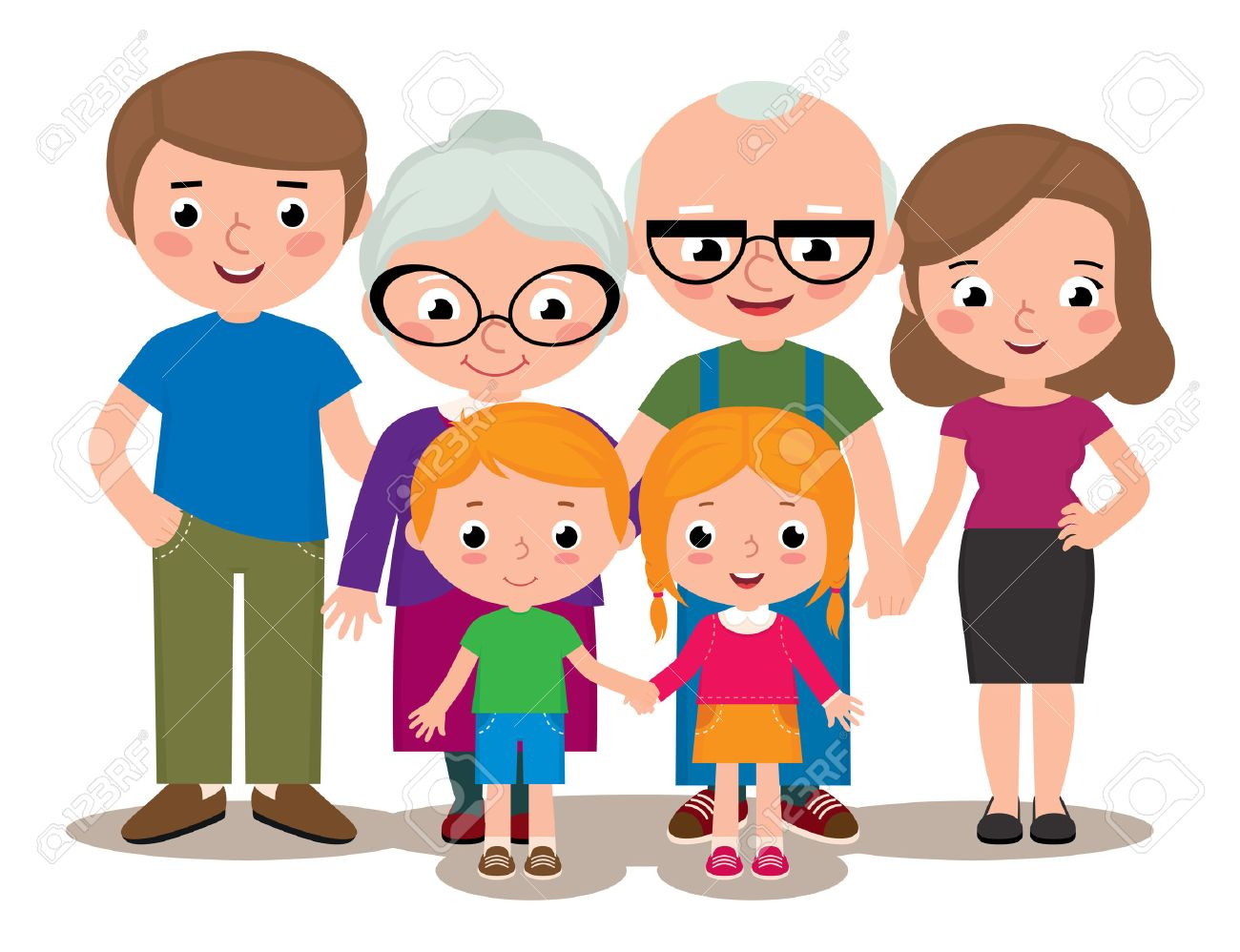 Stock Vector Cartoon Illustration Of A Family Group Portrait Royalty Free Cliparts Vectors And Stock Illustration Image 40657576