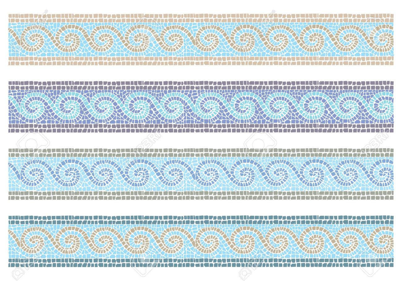 Stock vector illustration of vintage mosaic in the Byzantine style seamless border - 44257521