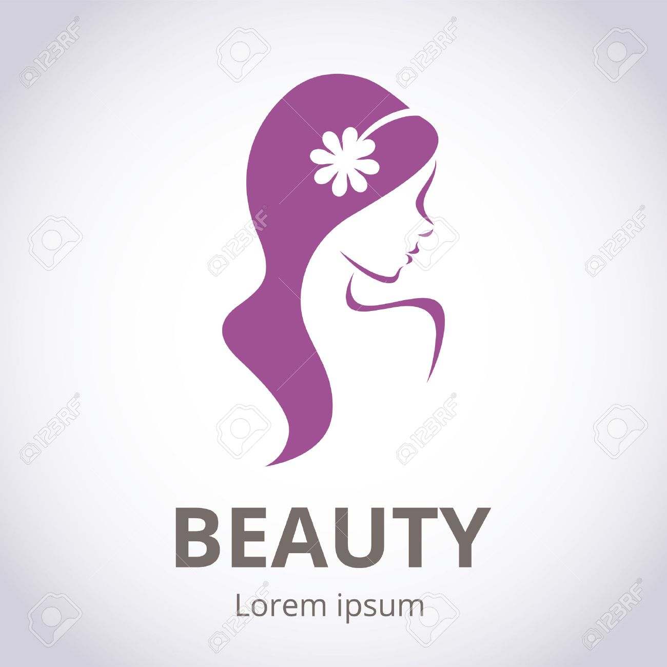 Abstract logo for beauty salon stylized profile of a young beautiful woman - 46569215