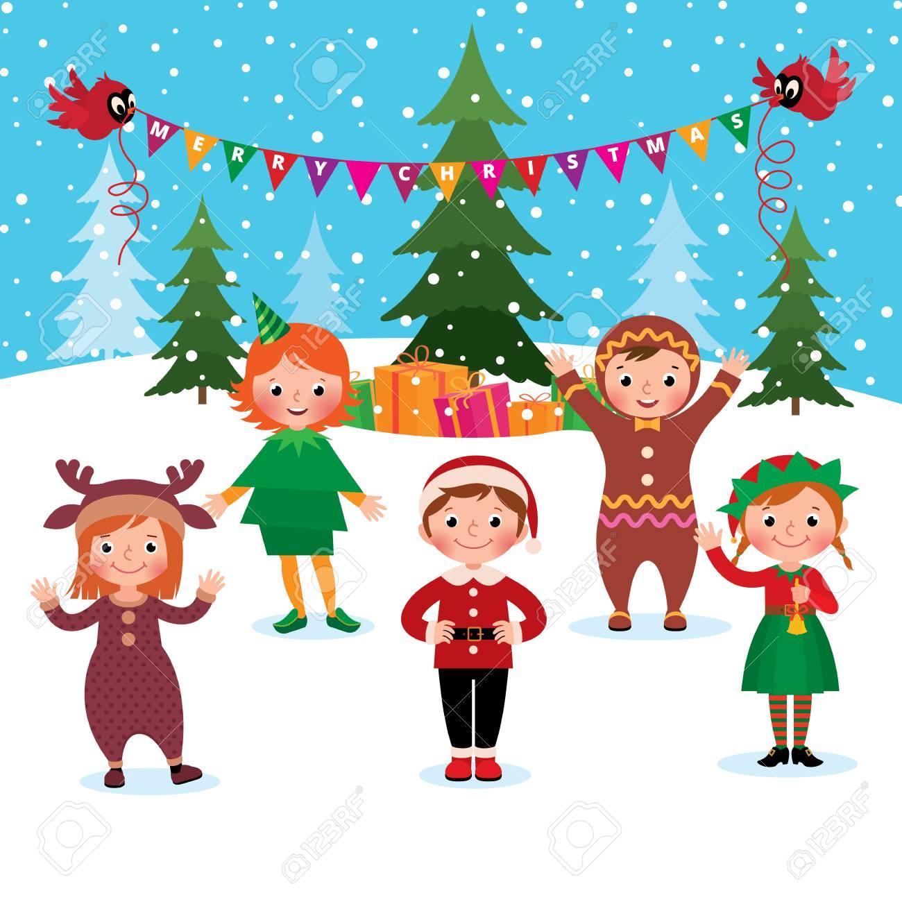 Christmas Celebration Cartoon Images.Cartoon Vector Illustration Of A Group Of Children Celebrate