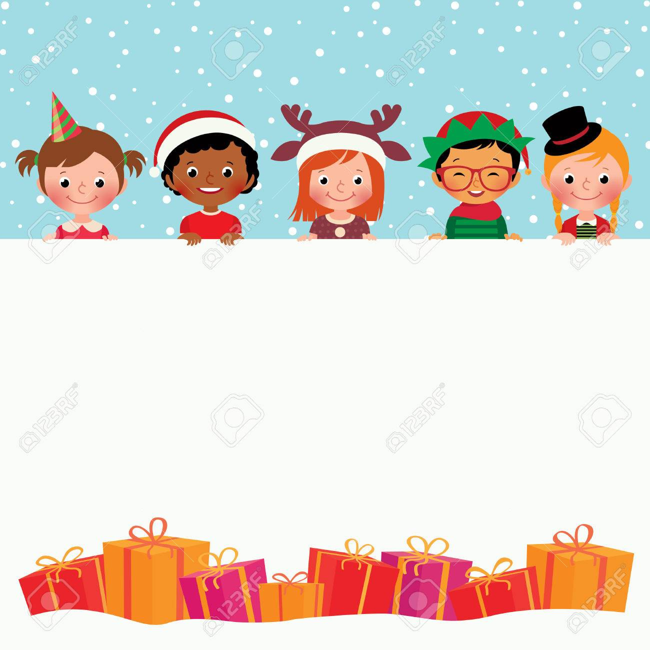 Stock vector illustration of Christmas Card Children in holiday costumes and gifts - 48671886