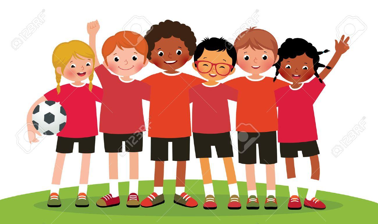 Stock illustration international group kids soccer team on a white background - 53974869