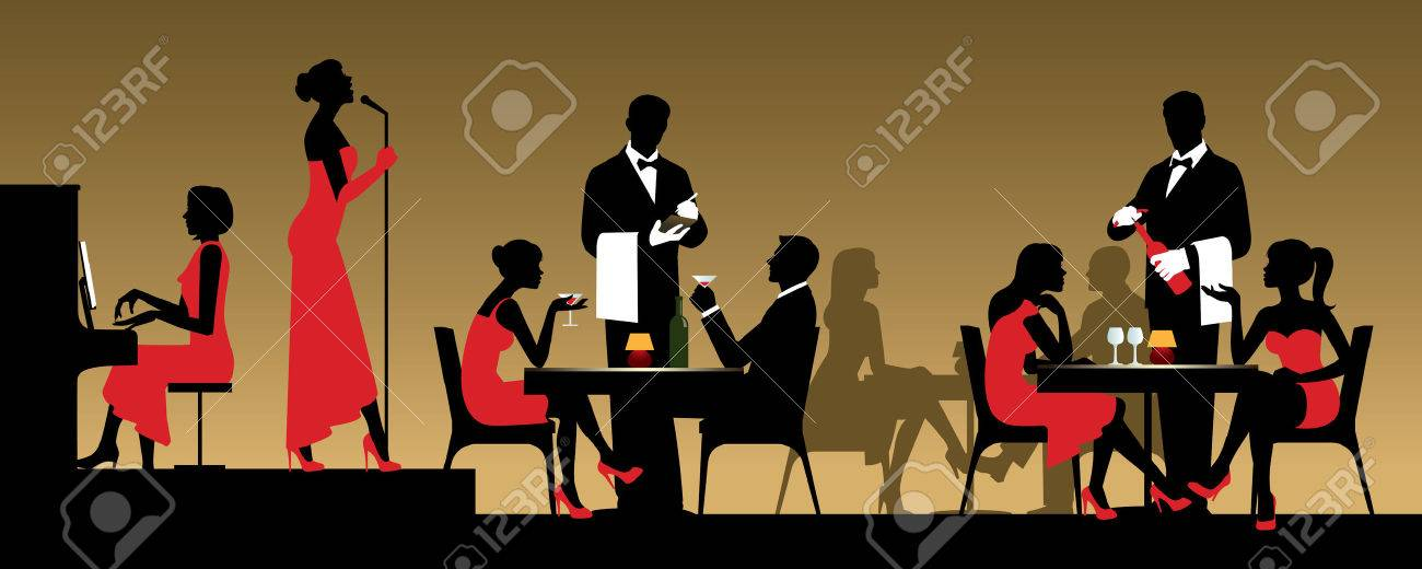 People in night club or restaurant sitting at a table Stock illustration - 53974875