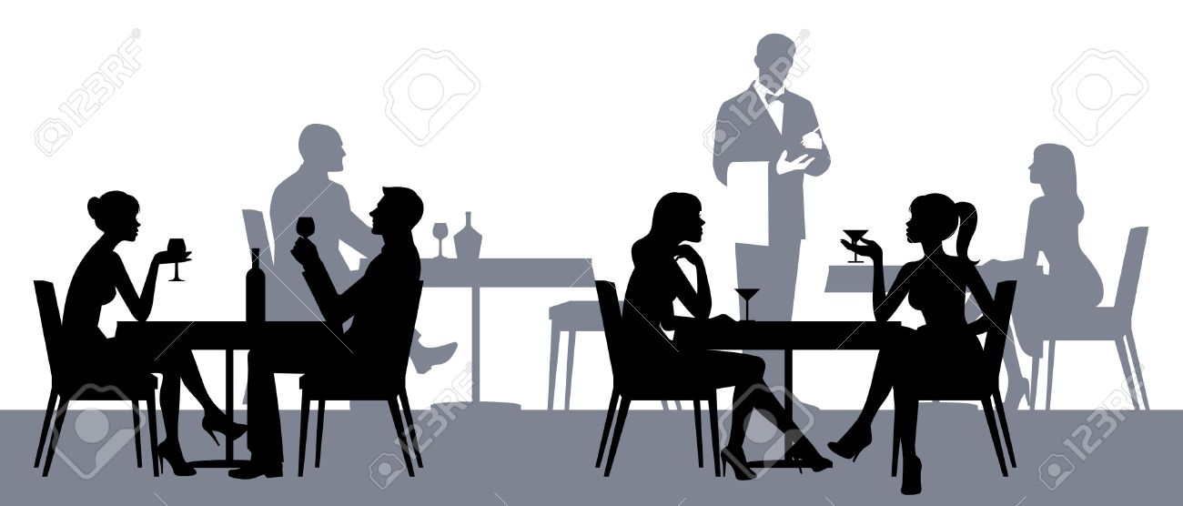 Silhouettes of people sitting at the tables in the restaurant or cafe Stock illustration - 53974879