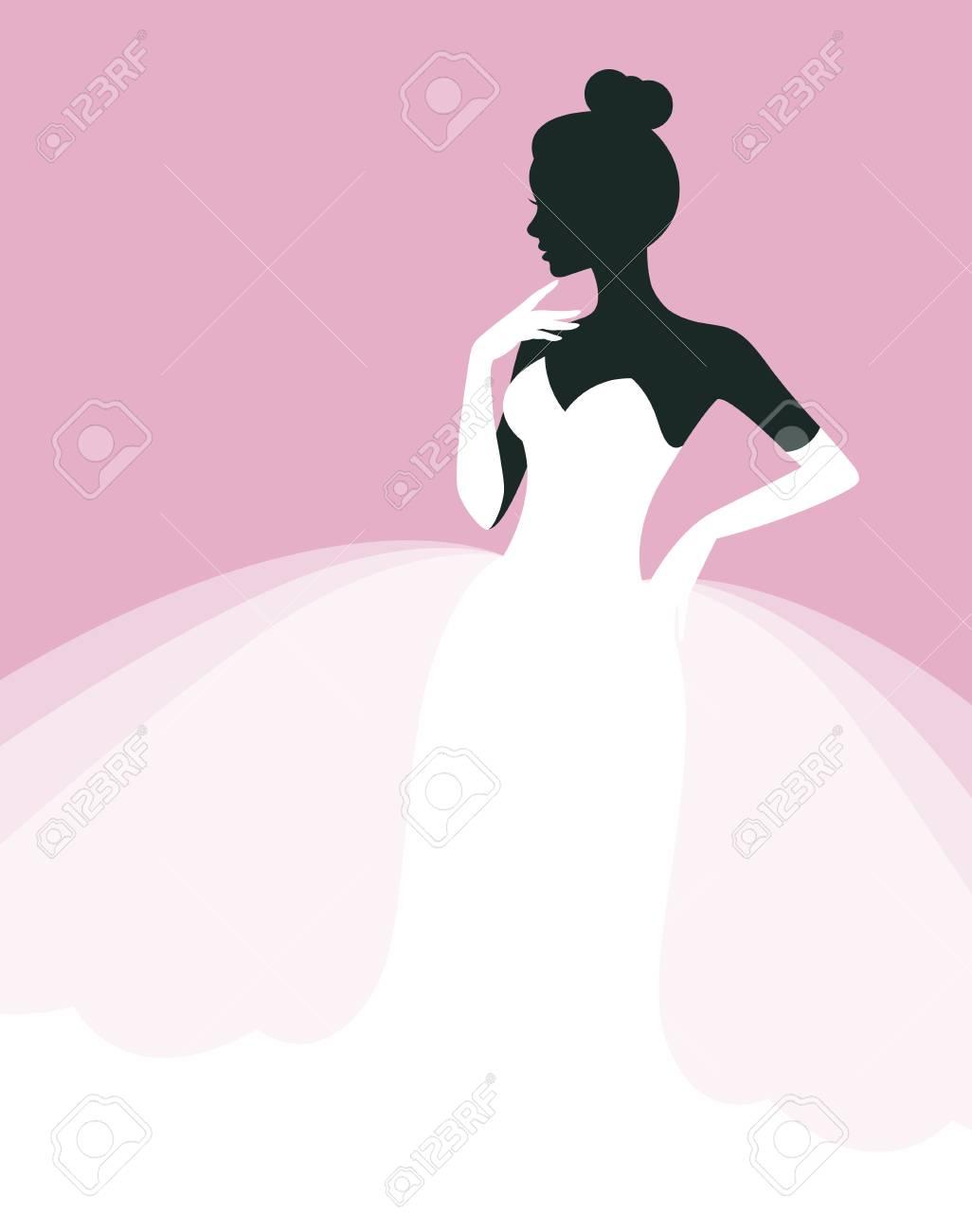 Hermosa Mujer En Un Vestido De Novia, Invitación O Plantilla De ...