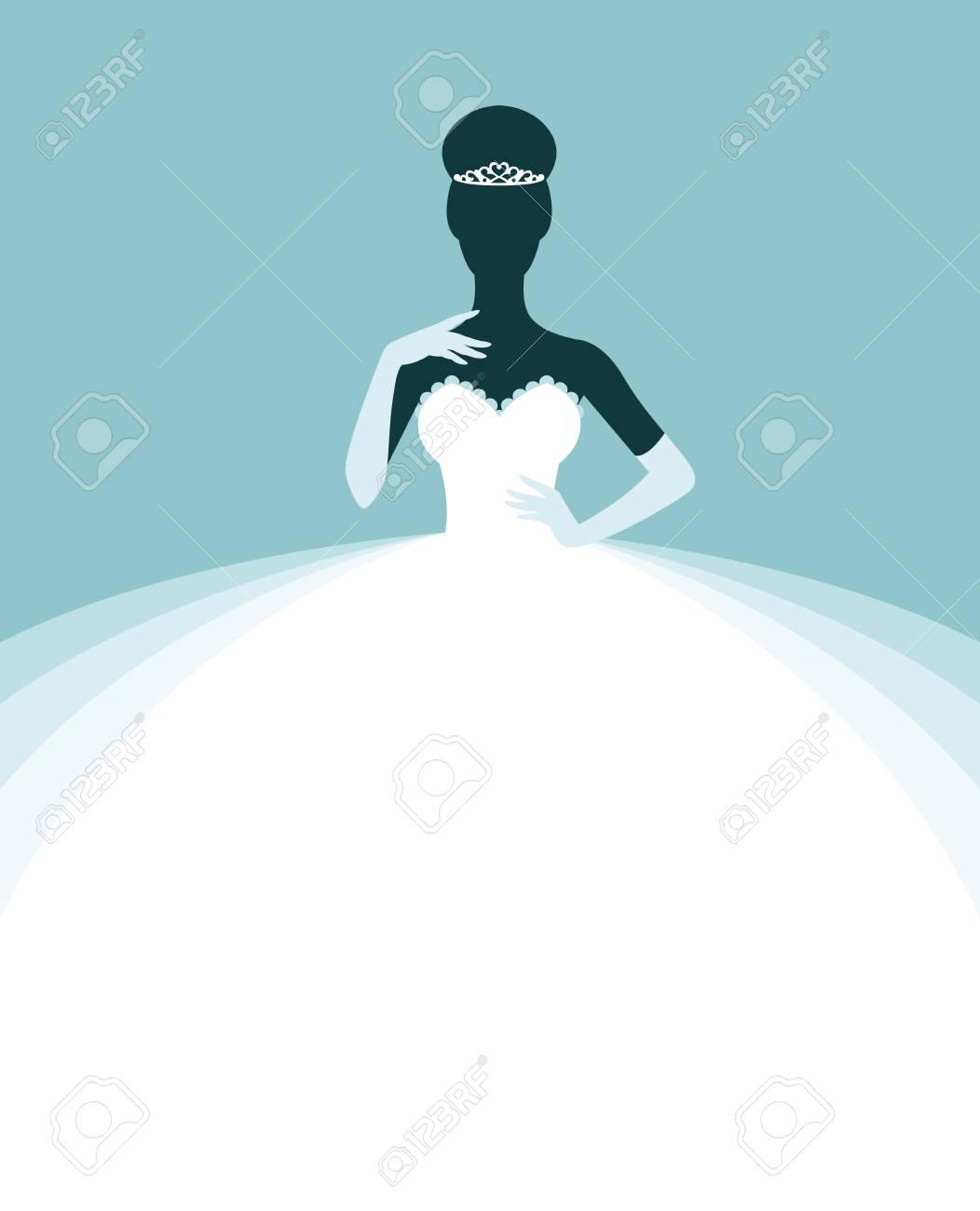 Schöne Frau In Einem Hochzeitskleid, Einladung Oder Flyer Vorlage Für Die  Braut Zeigen Vektor