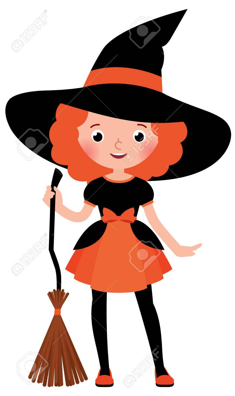 Little red haired girl with a broom in Halloween witch costume on a white background Stock  sc 1 st  123RF.com & Little Red Haired Girl With A Broom In Halloween Witch Costume ...