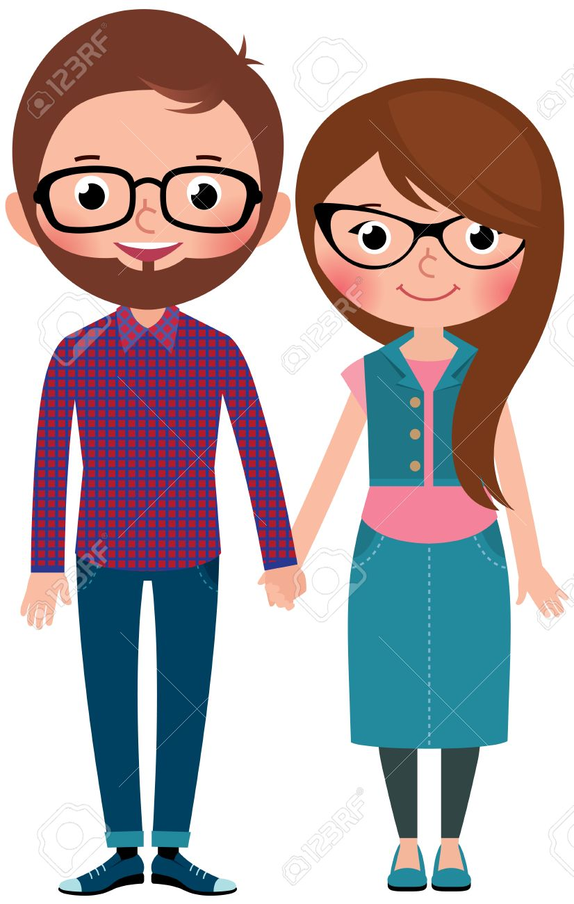 Hombre Pareja Amorosa Y Una Mujer Vestidos Como Ilustración De