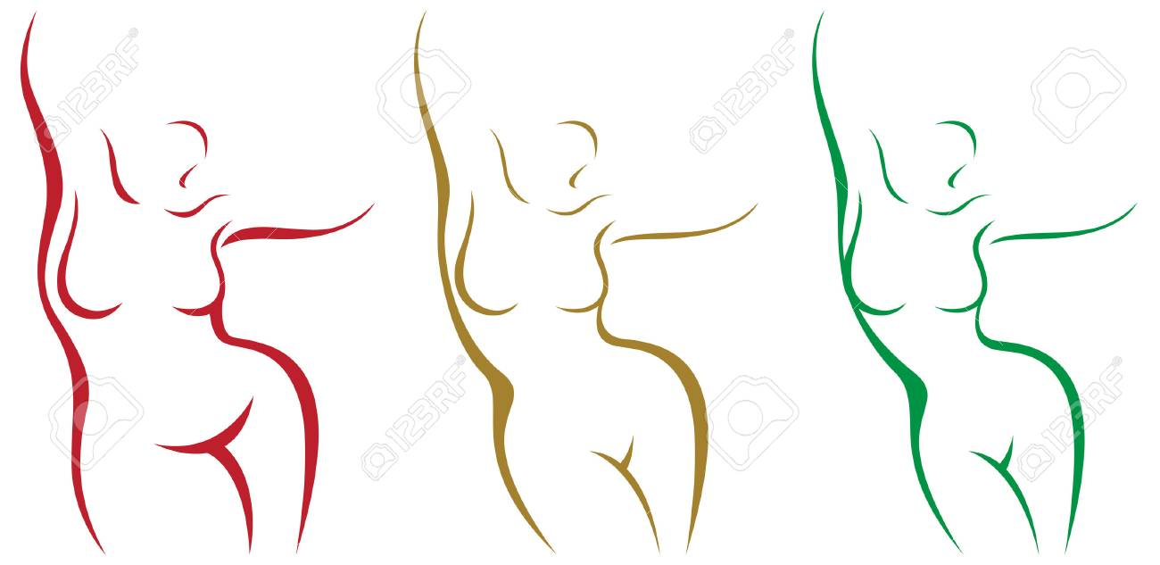 Set of stylized female body overweight and after weight loss vector illustration - 78908599