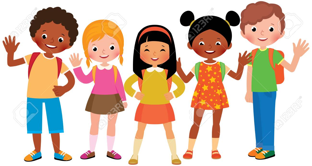 Group of children students Stock Vector cartoon illustration - 85565244