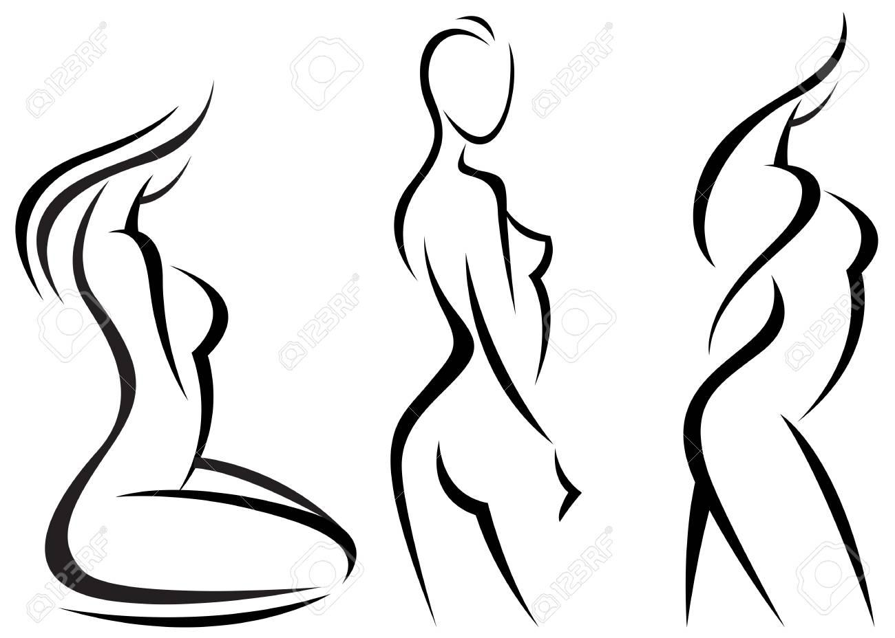 Set Stylized Beautiful Women Silhouettes Vector Illustration Royalty