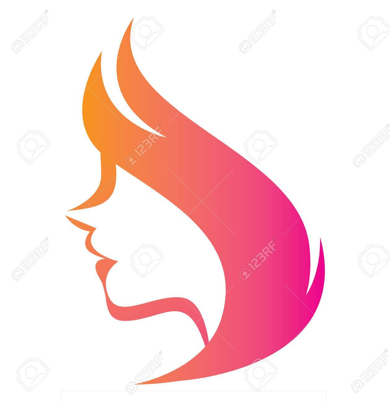 Vector Stylized Silhouette Of A Woman In Profile Template Logo ...