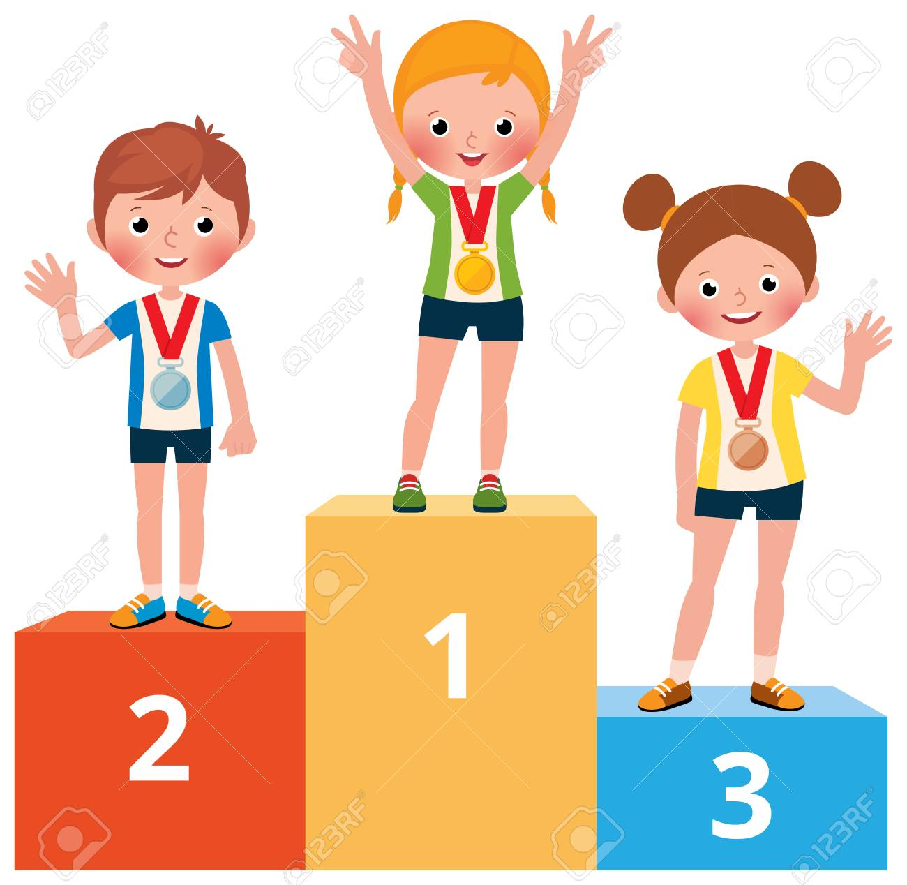 Children sportsmen in sport clothes with medals on the pedestal vector cartoon illustration - 95631321