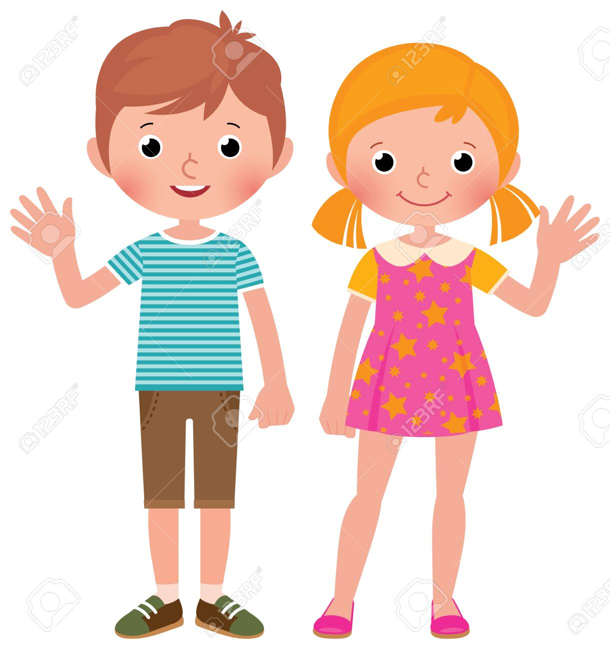 Boy and girl in full length welcome vector cartoon illustration - 98045404