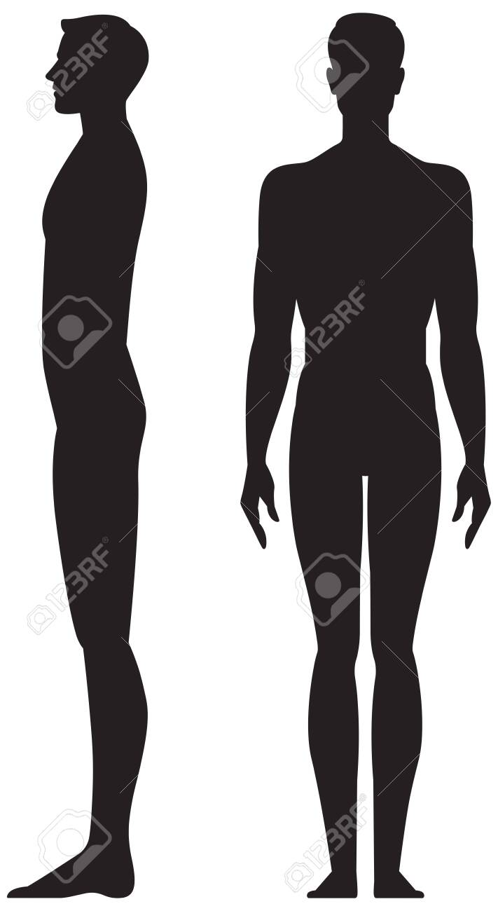 Silhouette man in full length front and side view vector stock illustration isolated on white background - 139068281
