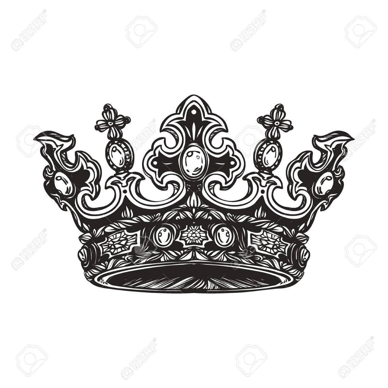 Filigrana Alta Corona Imperial Detallada Elemento Para El Logotipo