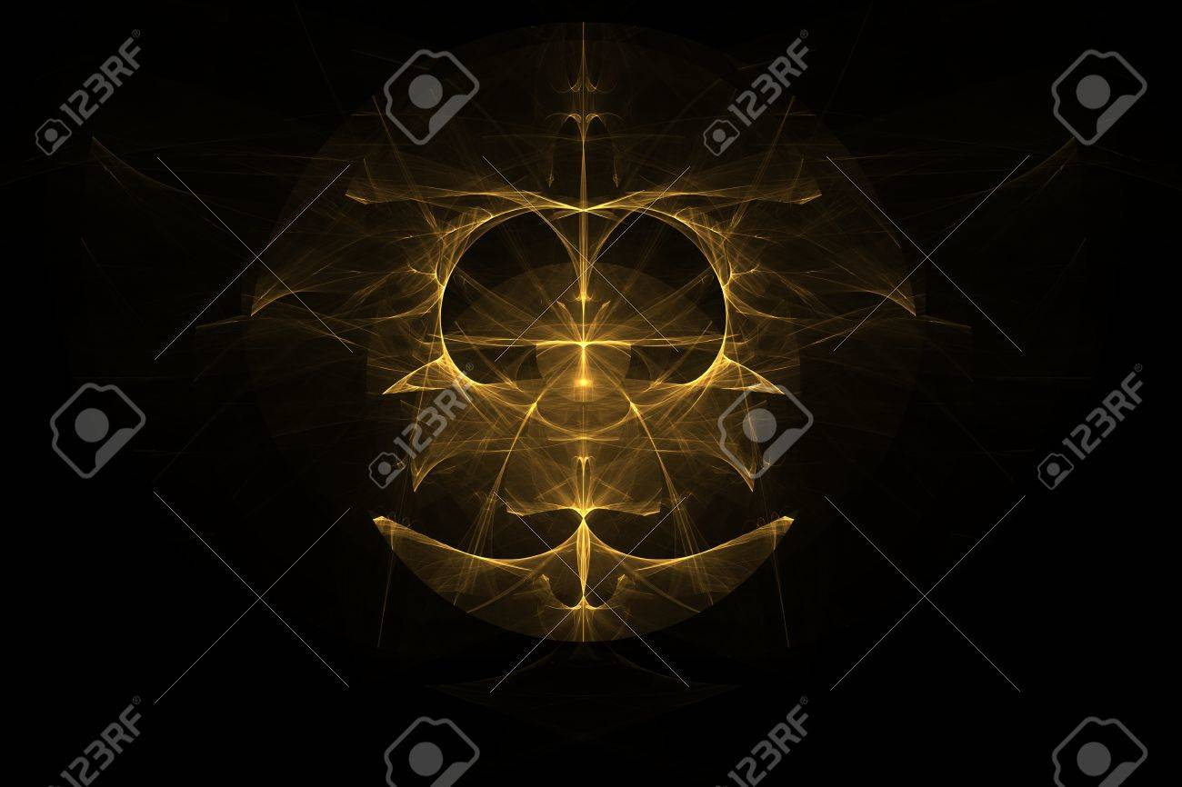 Fractal Abstract Emblem Sign Symbol Yellow Golden Color Of The
