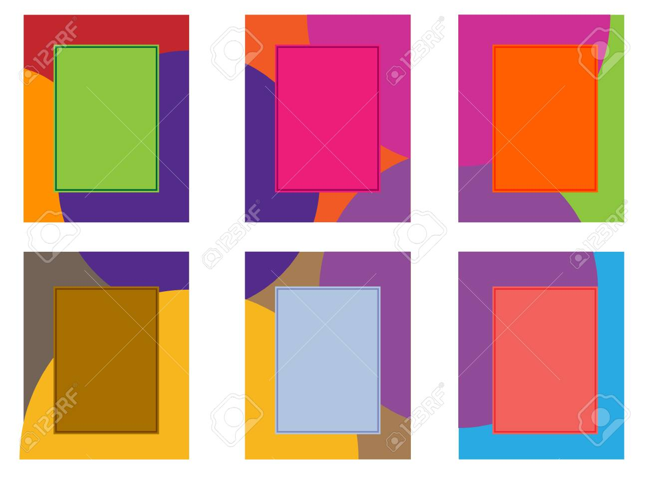 Vector Illustration Collage Of Six Frames With A Multi Colored