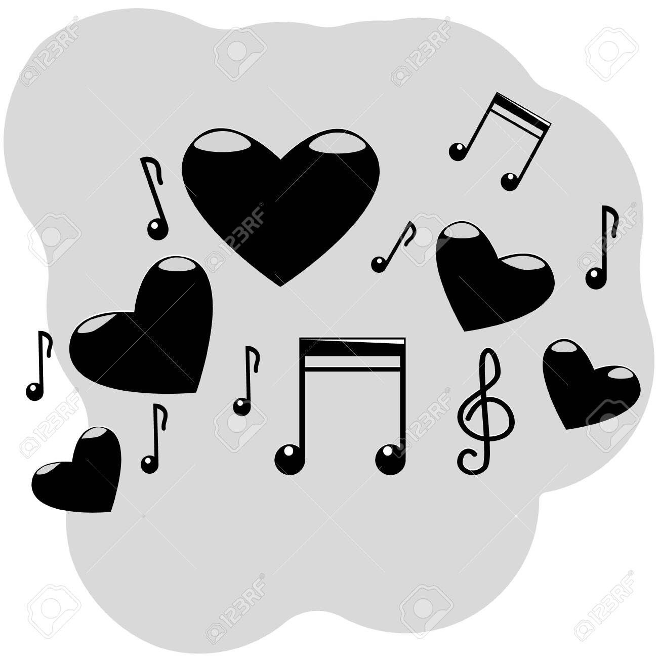 Vector Illustration Of Five Hearts With Musical Symbols Notes Royalty Free Cliparts Vectors And Stock Illustration Image 123636541