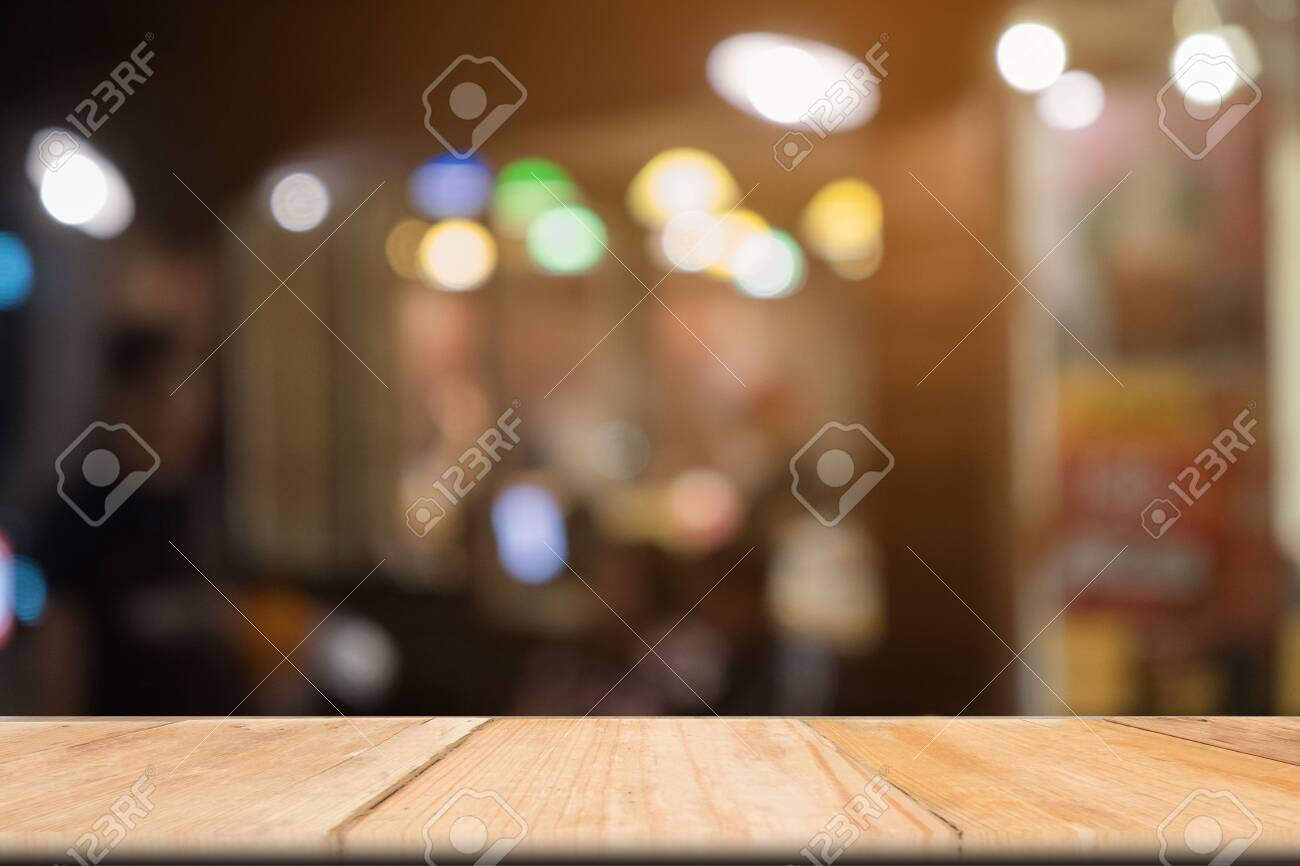 Wooden table of brown in front blurred background, use for presentation product and advertising - 122663454