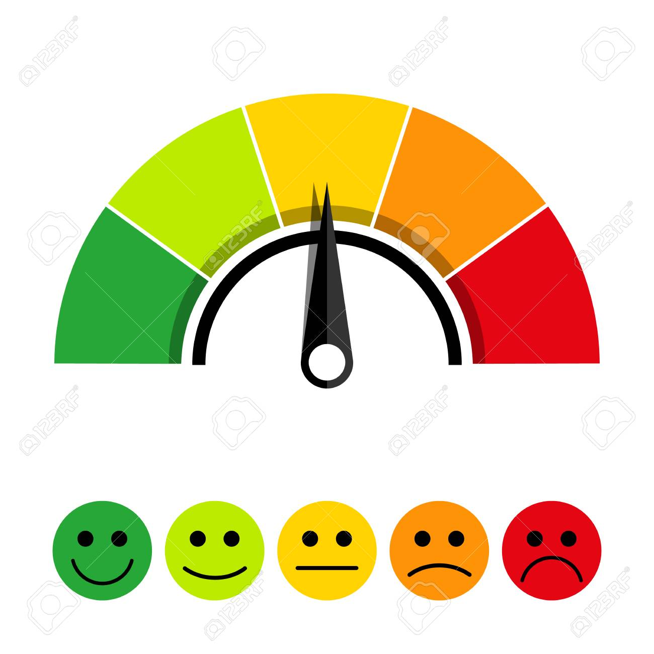 Rating scale of customer satisfaction. The scale of emotions with smiles. - 112273779