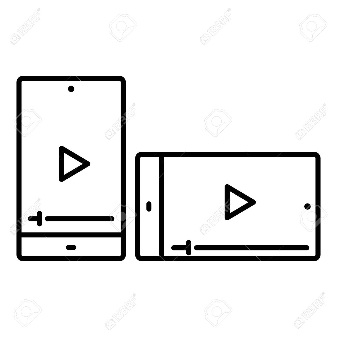 Simple linear icon of a smartphone playing video. - 149594817