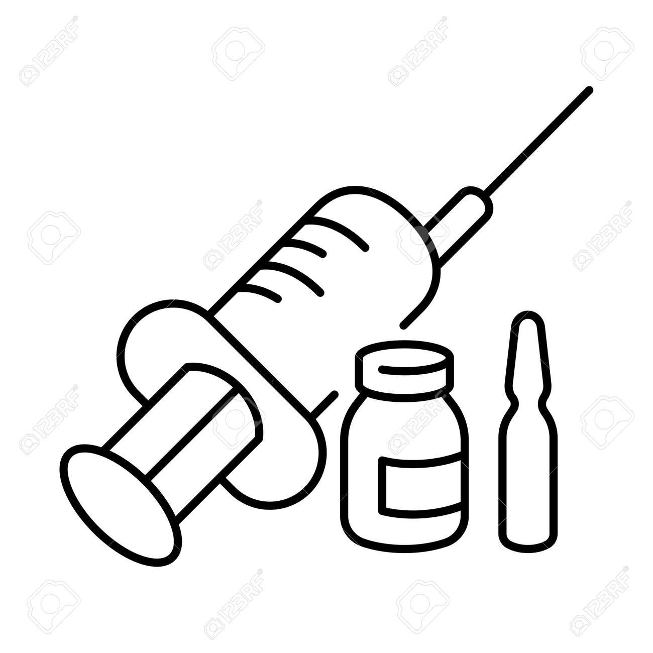 Simple linear icon of a vaccine or medicine with a syringe - 155691954