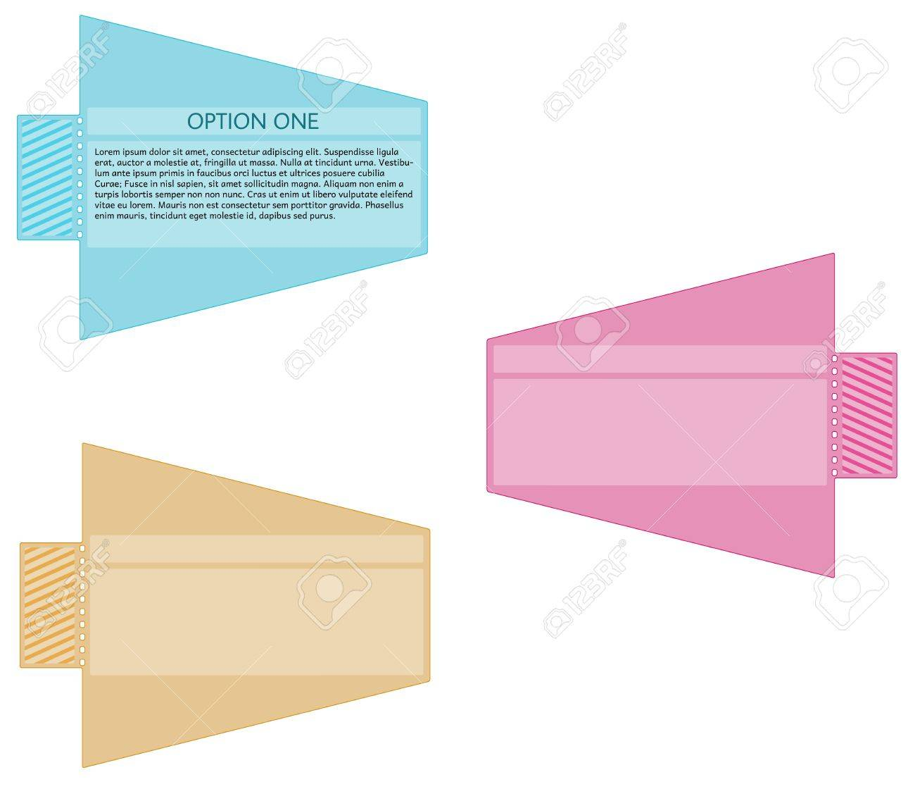 three colors of ticket label with arrow without spike Stock Vector - 17595279