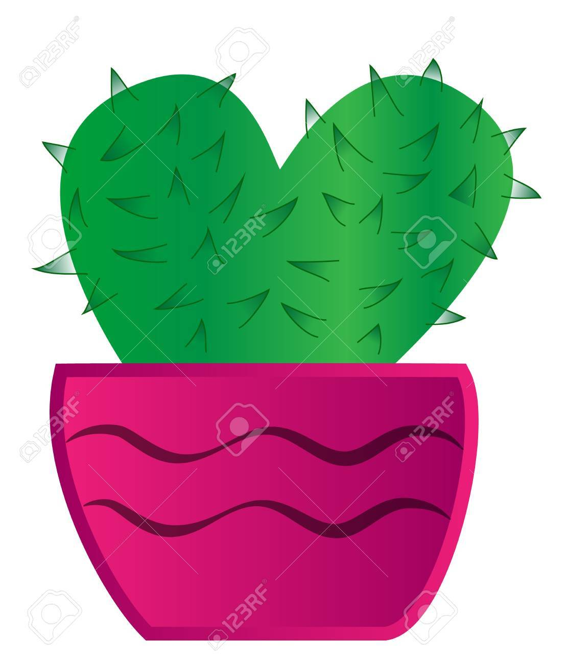 green cactus with thorns in pink pot Stock Vector - 17727812