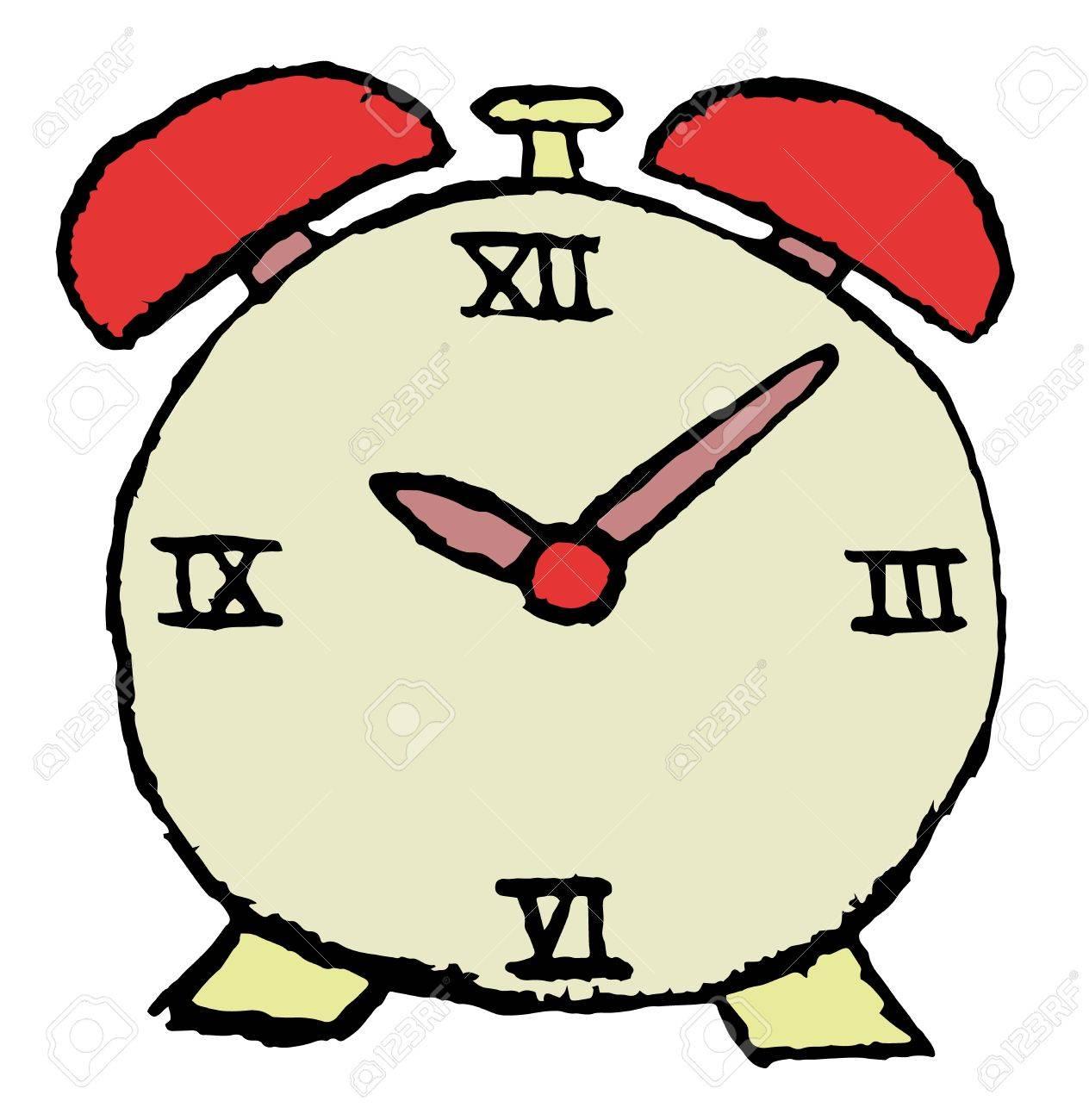 sketch of alarm clock in red color Stock Vector - 17727826