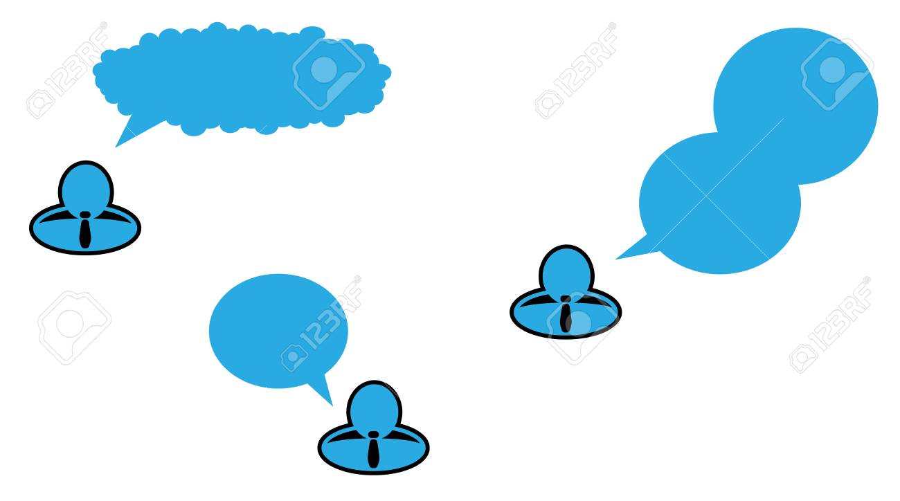 businessman with tie and three types of speaking bubble Stock Vector - 17980466