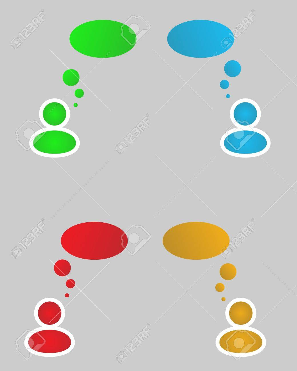 color (green, blue, red, yellow) siluets with thinking bubbles Stock Vector - 17980462