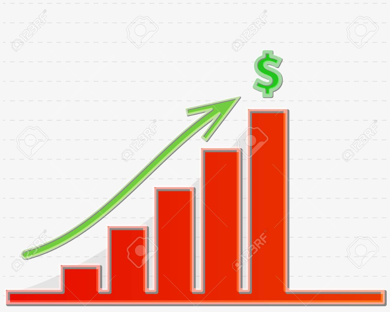 Red Lined Graph Growing To The Highest Line With Symbol For Money