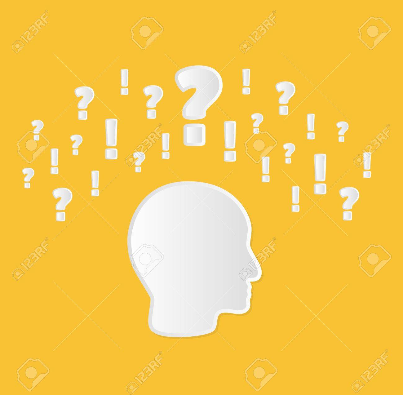 Head With Question Marks And Exclamation Marks As A Symbol Of
